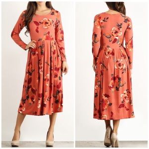 Floral Midi Dress Long Sleeve Stretchy NEW Large